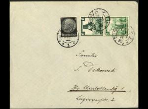 Dt. Reich, S 233, portogerecht auf Fern-Brief, Vor-Ersttag 29.10.35 !!!