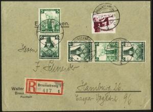Dt. Reich, S 234, S 233, portogerechter R-Brief, Vor-Ersttag 1.11.35 !!!