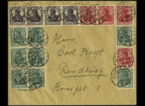Dt. Reich, HBl. 1 II, HBl. 15, S 5 (2), portoger. Fern-Brief, Mi. 246,- ++(7035)