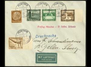 Dt. Reich, Mi. W 121, portogerechte Ausl.-Luftpost-Drucksache, Erstflug (7379)