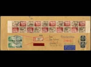 Dt. Reich, Mi. SK 31 (10), portogerechter Luftpost-Eil-R-Brief (7543)