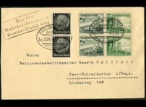 Dt. Reich, Mi. W 123 (2), portogerechter Fern-Brief, Bahnhofsbriefkasten (7620)
