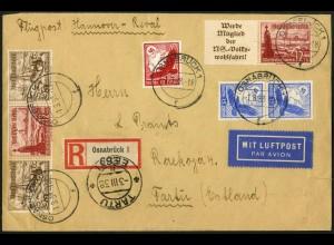 Dt. Reich, Mi. W 127 + W 132, portogerecht auf Auslands-Luftpost-R-Brief (7726)