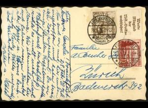 Dt. Reich, Mi. S 244, portogerecht auf Auslands-Karte, Mi. 30,- (7731)