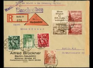 Dt. Reich, Mi. S 244, portogerechter Orts-Nachnahme-R-Brief (7741)