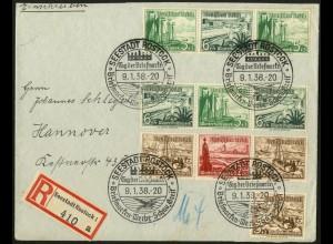 Dt. Reich, Mi. W 126, W 124, W 132, portogerecht auf R-Brief (7765)