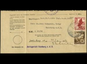 Dt. Reich, Mi. S 249, Einzelfrankatur auf Ostmark-Formular (7868)
