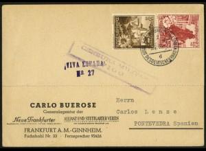 Dt. Reich, Mi. S 249, portogerechte EF auf Auslands-Karte, Zensur (7870)