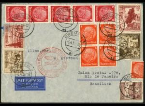 Dt. Reich, Mi. S 249 + W 131, portogerecht auf Auslands-Luftpost-Brief (7874)