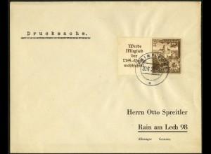 Dt. Reich, Mi. W 135, portogerechte Einzelfrankatur, Mi.-Handbuch 65,- (7940)
