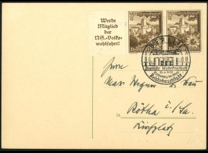 Dt. Reich, Mi. W 135, portogerechte Postkarte, Mi. 30,- (7943)