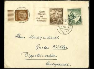 Dt. Reich, Mi. W 135, portogerechter Fern-Brief, Mi. 30,- (7947)