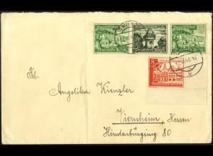 Dt. Reich, Mi. W 139 + 734 Bogenecke, portogerecht auf Ostmark-Brief (7994)
