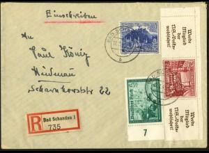 Dt. Reich, Mi. W 141, portogerecht auf R-Brief, Mi. 100,- (8034)