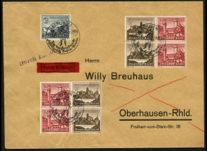 Dt. Reich, Mi. W 146 (2), W 144 (2), portogerecht auf Eil-Brief (8047)