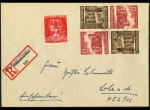 Dt. Reich, Mi. K 37 (2), portogerecht auf R-Brief, korrigierter R-Zettel (8069)