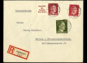 Dt. Reich, Mi. W 156, portogerecht auf R-Brief