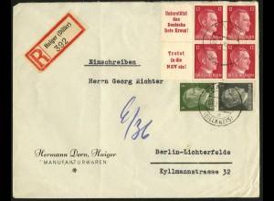 Dt. Reich, Mi. W 156, W 157, S 270, portogerecht auf R-Brief