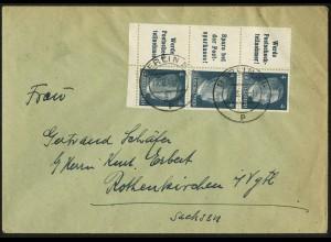 Dt. Reich, Mi. W 151 + W 152 (2), portogerecht auf Fern-Brief