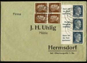 Dt. Reich, Mi. W 151 (2) + W 152, portogerecht auf Geschäfts-Brief