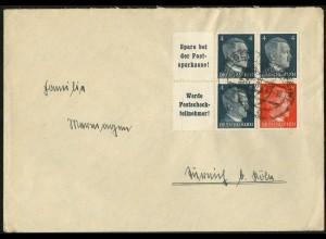 Dt. Reich, Mi. W 153 + W 152, auf Fern-Brief