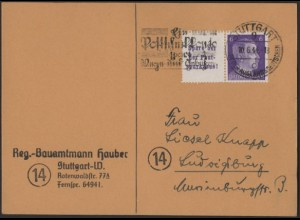 Dt. Reich, Mi. W 154, portogerechte Einzelfrankatur, Mi.-Handbuch 50,- (8416)