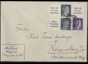 Dt. Reich, Mi. S 282, W 151, W 152, auf Fern-Brief