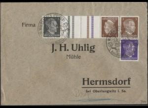Dt. Reich, Mi. KZ 37 + S 274, auf Geschäfts-Brief