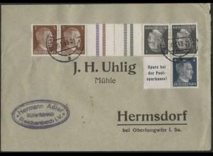 Dt. Reich, Mi. KZ 37 + W 151, portogerecht auf Geschäfts-Brief