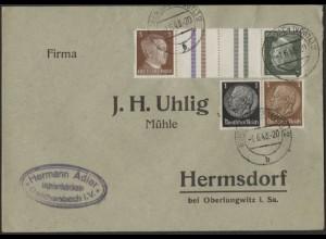 Dt. Reich, Mi. KZ 38 + W 95, portogerecht auf Geschäfts-Brief /8510