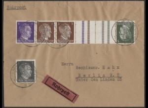 Dt. Reich, Mi. KZ 38 + W 149, portogerecht auf Rohrpost-Orts-Brief /8512