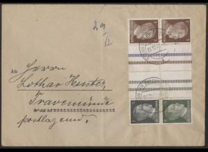 Dt. Reich, Mi. KZ 37 + KZ 38, portogerecht auf Fern-Brief /8515
