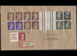 Dt. Reich, Mi. KZ 37, KZ 38 u.a., portogerechter R-Brief, Ostmark /8527