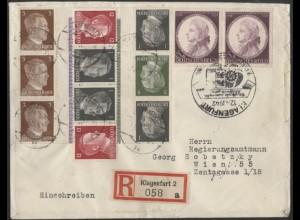 Dt. Reich, Mi. KZ 37 (2) + KZ 38, portogerechter R-Brief, Ostmark /8528