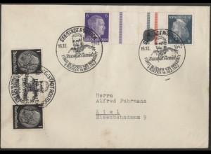 Dt. Reich, Mi. KZ 39 + W 92, portogerechter Fern-Brief /8534
