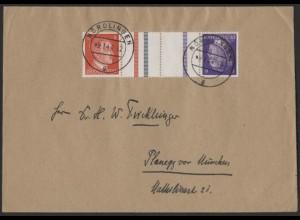 Dt. Reich, Mi. KZ 40, als Einzelfrankatur auf Fern-Brief /8542