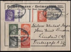 Dt. Reich, Mi. KZ 40, S 201, S 270, portogerechte Päckchen-Adresse /8554