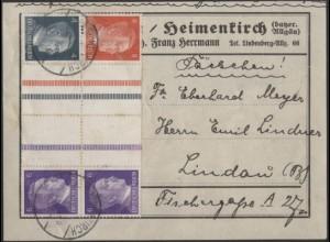 Dt. Reich, Mi. KZ 39 + KZ 40, auf Päckchen-Adresse /8558