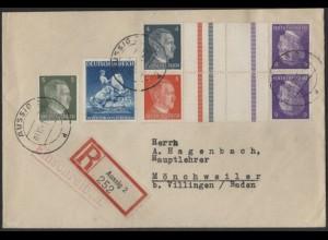 Dt. Reich, Mi. KZ 39 + KZ 40, portogerechter R-Brief /8561