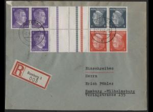 Dt. Reich, Mi. KZ 39, KZ 40, S 280, portogerechter R-Brief /8565