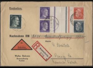 Dt. Reich, Mi. KZ 39 + KZ 40, portogerechter Nachnahme-R-Brief /8569