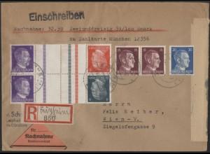 Dt. Reich, Mi. KZ 39 + KZ 40, portoger. Nachnahme-R-Brief, Ostmark /8570