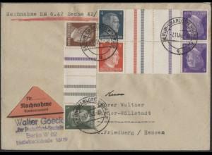 Dt. Reich, Mi. KZ 38, KZ 39, KZ 40, unterfrankierter Nachnahme-Brief /8571