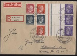 Dt. Reich, Mi. KZ 39, KZ 40 (2), portogerecht auf R-Brief /8577