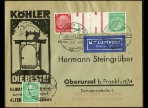Dt. Reich, Mi. KZ 17, portogerecht auf Luftpost-Brief, Mi. 120,- (8725)
