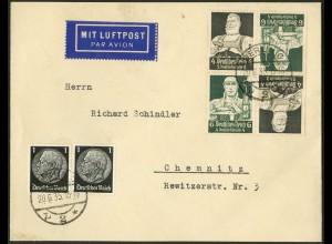 Dt. Reich, Mi. K 23 (2), portogerechter Luftpost-Brief , Mi. 75,- /8729