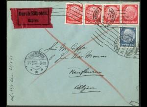 Dt. Reich, Hamburger Straßenbahnpost 1934, portoger. Eil-Brief (8762)