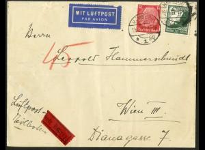 Dt. Reich, Straßenbahnpost, portoger. Ausl.-Lp.-Eil-Rohrpost-Brief (8764)
