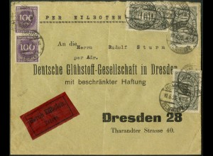 Dt. Reich, Hamburger Straßenbahnpost 1923, Eil-Brief (8775)