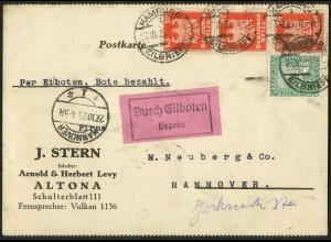 Dt. Reich, Hamburger Straßenbahnpost 1925, portoger. Eil-Karte (8787)